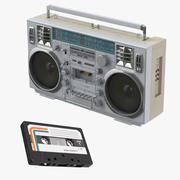 Boombox e cassetta 3d model