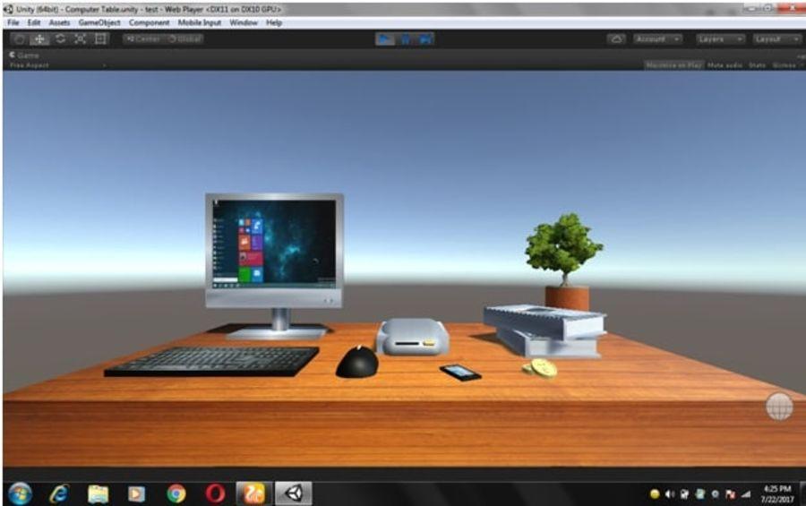 Mesa de ordenador royalty-free modelo 3d - Preview no. 1