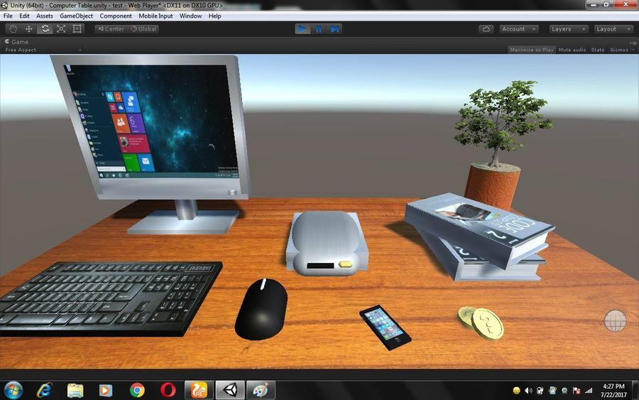 Mesa de ordenador royalty-free modelo 3d - Preview no. 2
