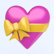 HEART with bow icon 3d model