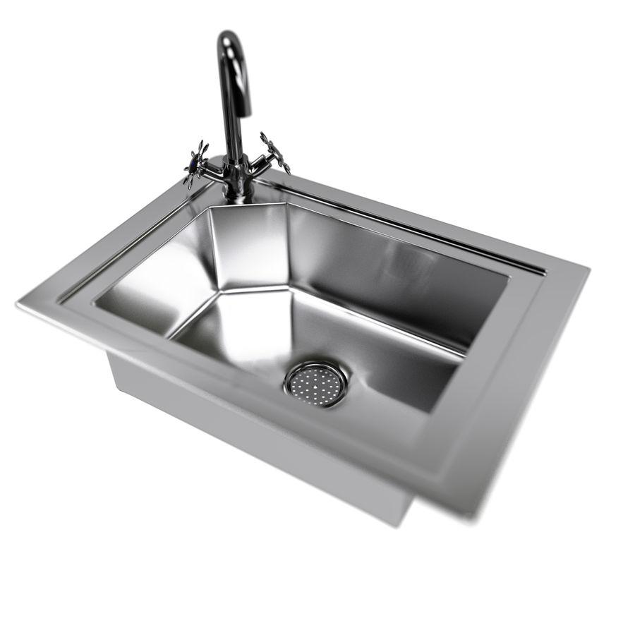 Kitchen Sink With Water Tap Drain 3d Model 6 Obj Fbx Blend Unknown Free3d
