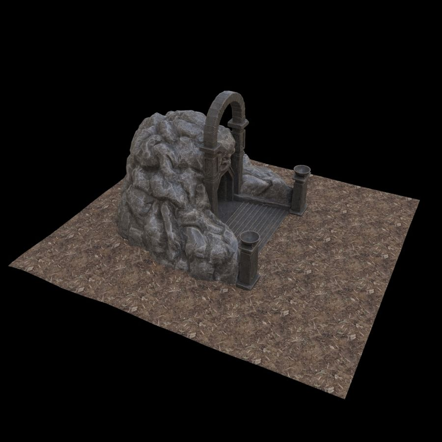 Cave-ingång royalty-free 3d model - Preview no. 7