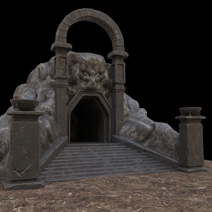 Cave-ingång royalty-free 3d model - Preview no. 10