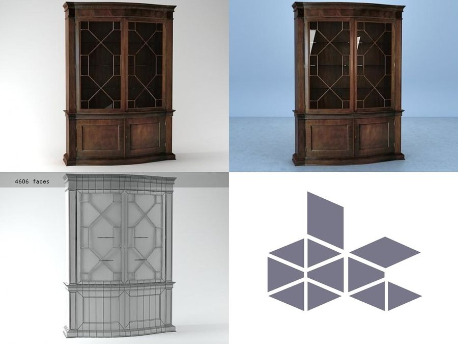 China Cabinet 2593 royalty-free 3d model - Preview no. 1