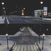 asfalt yol ve busstop 3d model