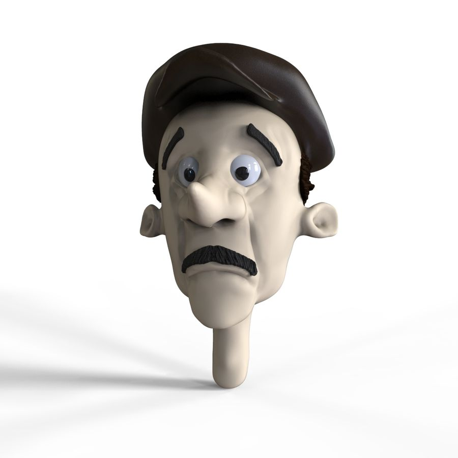 Old man character head royalty-free 3d model - Preview no. 8