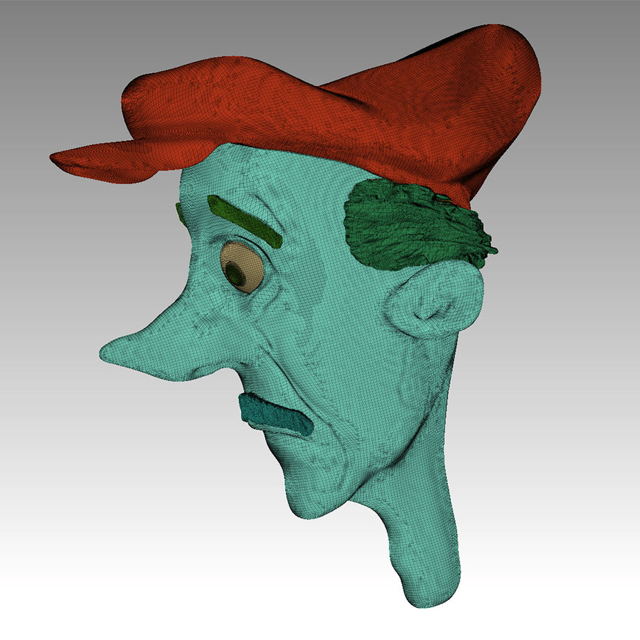 Old man character head royalty-free 3d model - Preview no. 9