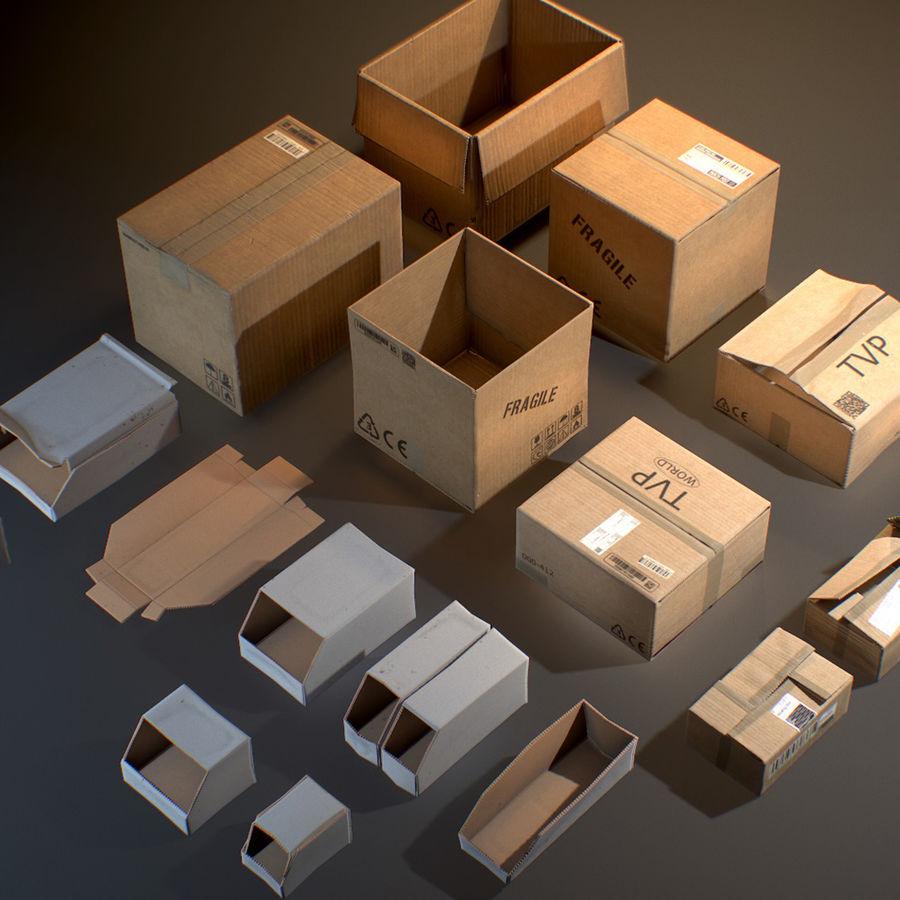 Scatole di cartone - Oggetti di scena pronti per il gioco royalty-free 3d model - Preview no. 1