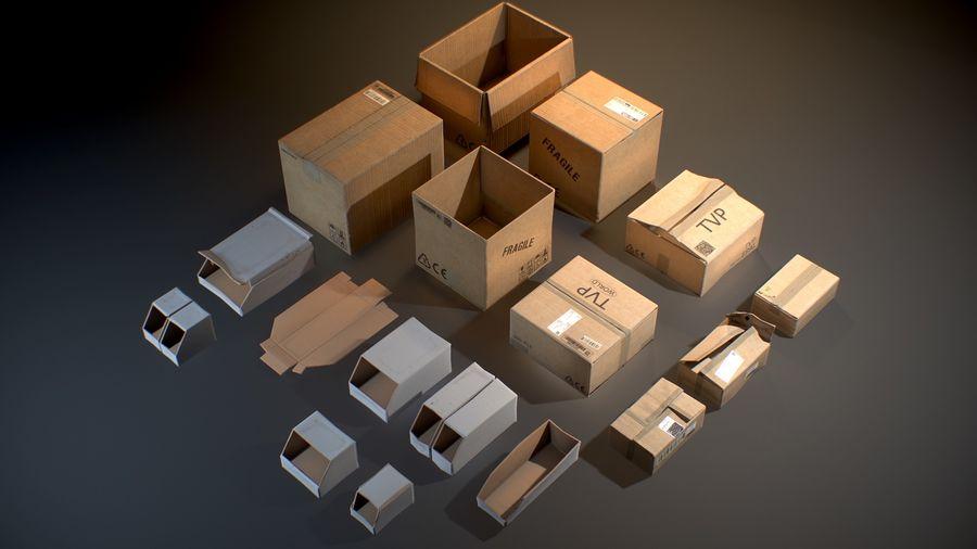 Scatole di cartone - Oggetti di scena pronti per il gioco royalty-free 3d model - Preview no. 2