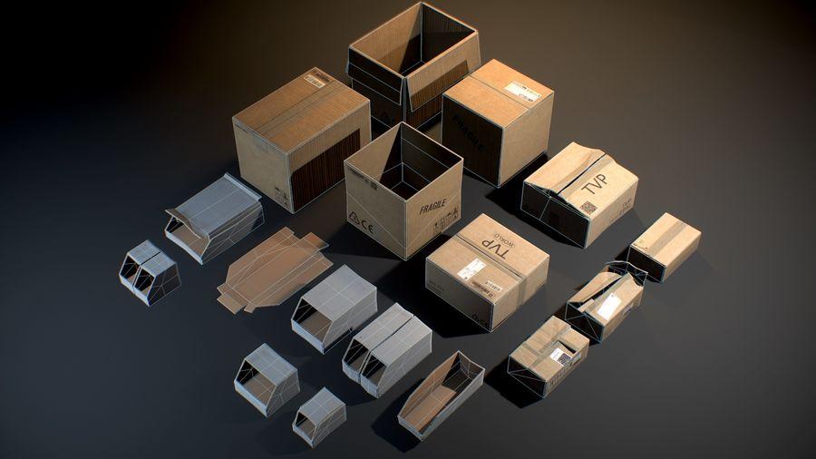 Scatole di cartone - Oggetti di scena pronti per il gioco royalty-free 3d model - Preview no. 3