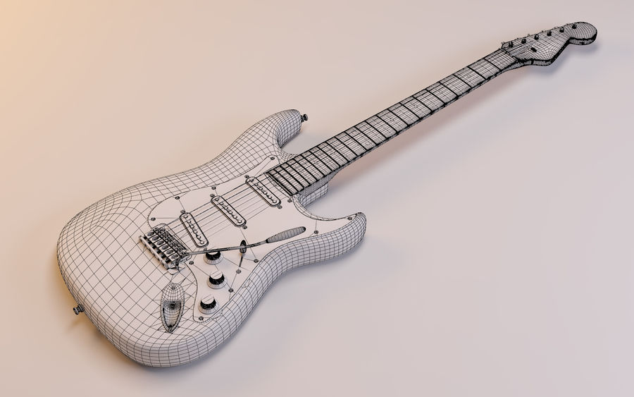 Fender Stratocaster royalty-free 3d model - Preview no. 9