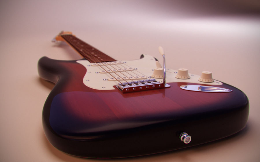 Fender Stratocaster royalty-free 3d model - Preview no. 3