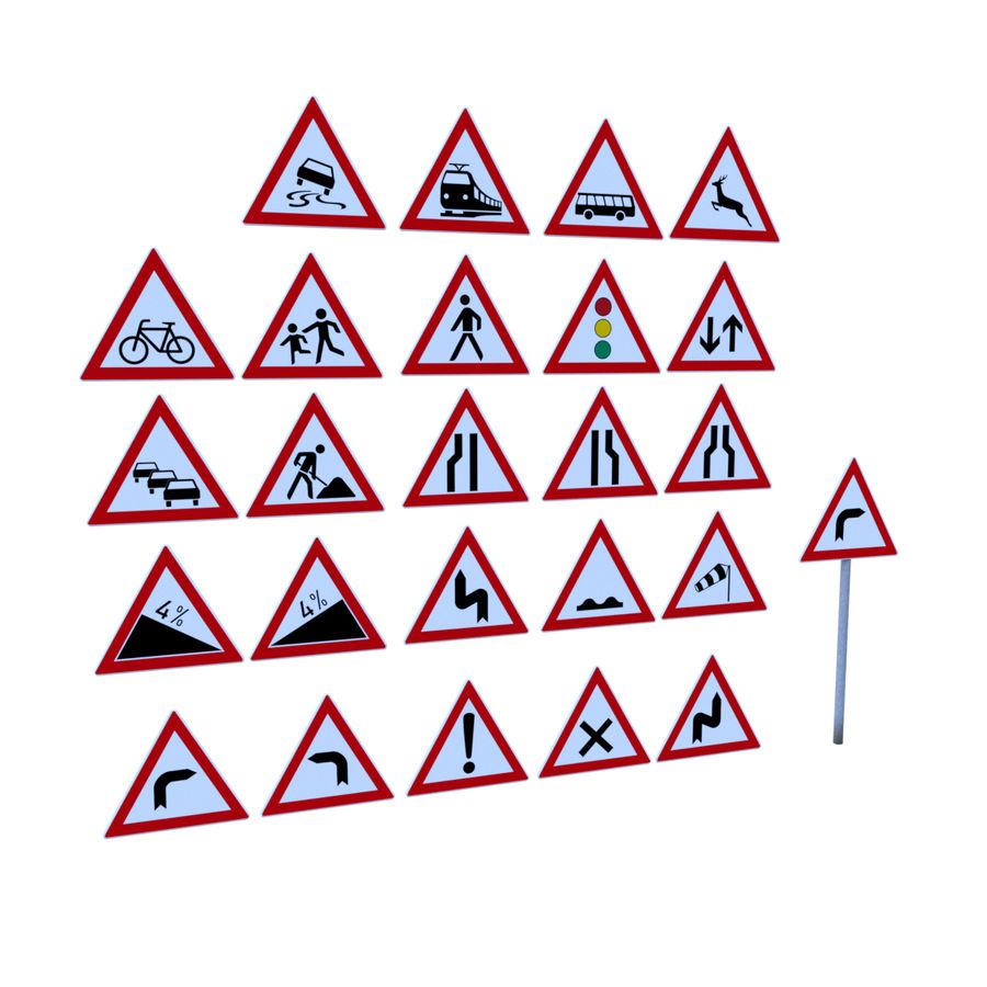 Niemiecki pakiet ostrzegawczy dotyczący ruchu / znaków drogowych royalty-free 3d model - Preview no. 1