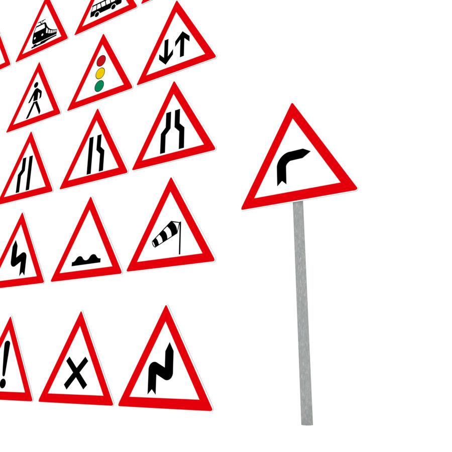 Niemiecki pakiet ostrzegawczy dotyczący ruchu / znaków drogowych royalty-free 3d model - Preview no. 5