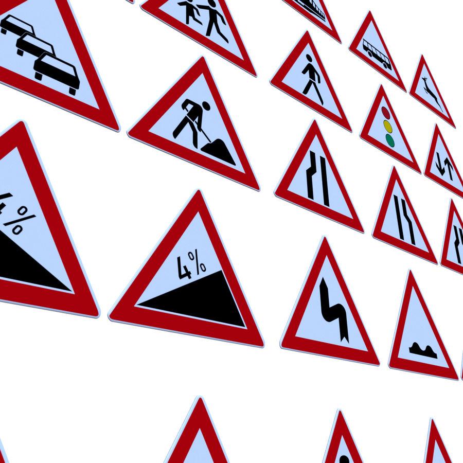 Niemiecki pakiet ostrzegawczy dotyczący ruchu / znaków drogowych royalty-free 3d model - Preview no. 4