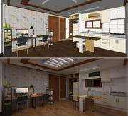 Kleine woon- eetkamer / keuken 3d model