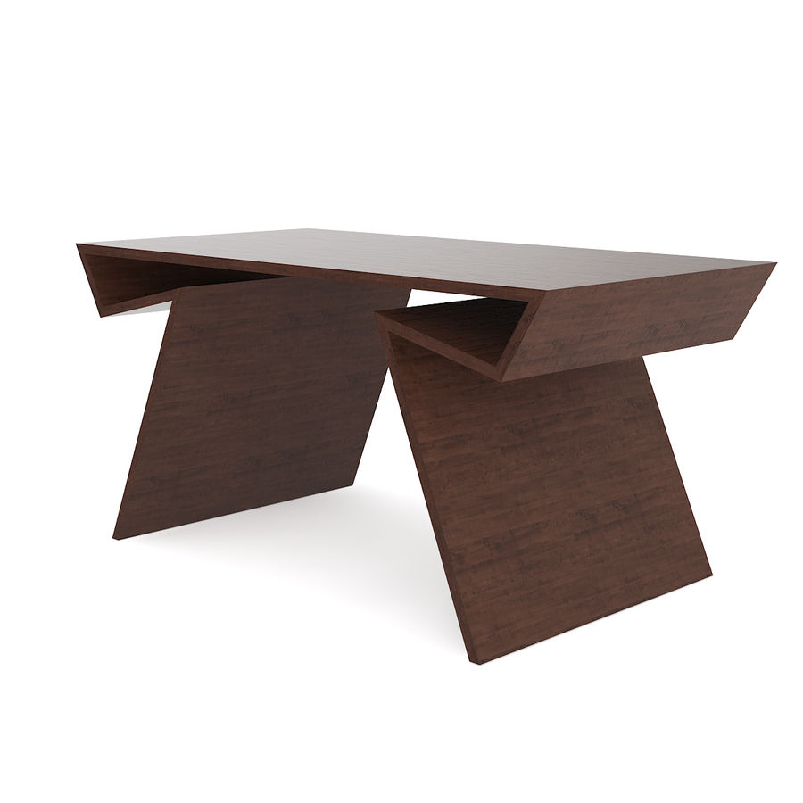 Modern Wooden Desk royalty-free 3d model - Preview no. 1