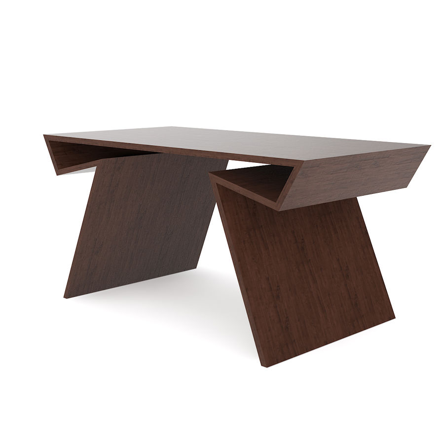 Modern Wooden Desk royalty-free 3d model - Preview no. 5