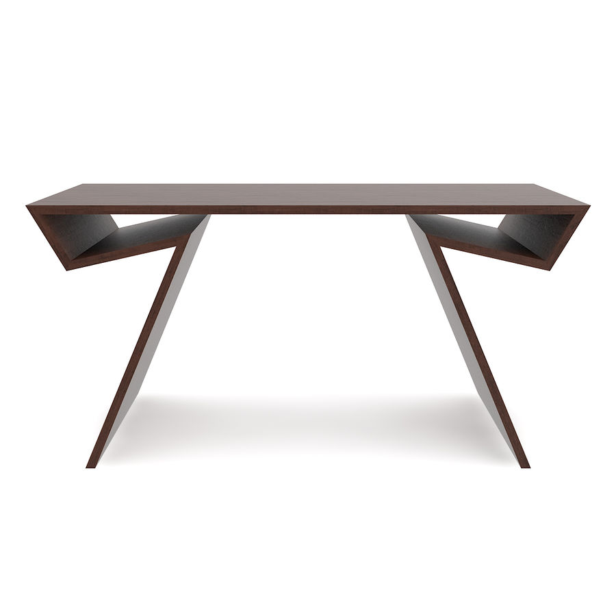 Modern Wooden Desk royalty-free 3d model - Preview no. 7