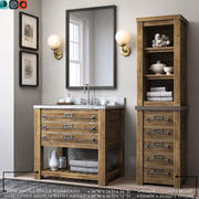 RH MERCANTILE ОДНОМ МОЙКА И MERCANTILE MEDIUM BATH CABINET 3d model