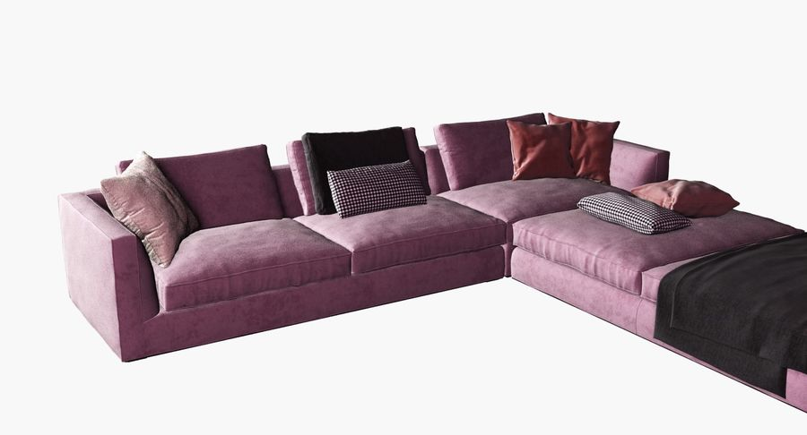 Sofa narożna z tkaniny royalty-free 3d model - Preview no. 3
