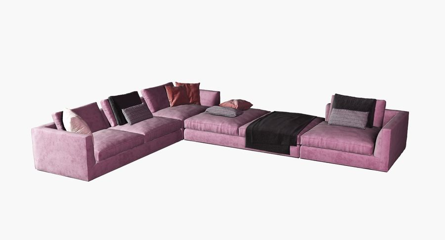 Sofa narożna z tkaniny royalty-free 3d model - Preview no. 1