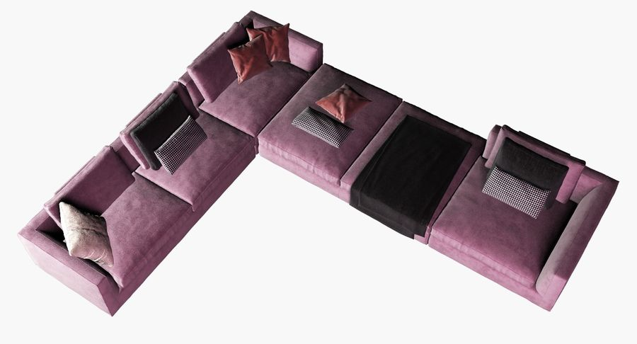 Sofa narożna z tkaniny royalty-free 3d model - Preview no. 5