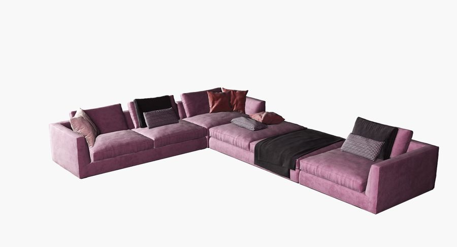 Sofa narożna z tkaniny royalty-free 3d model - Preview no. 2