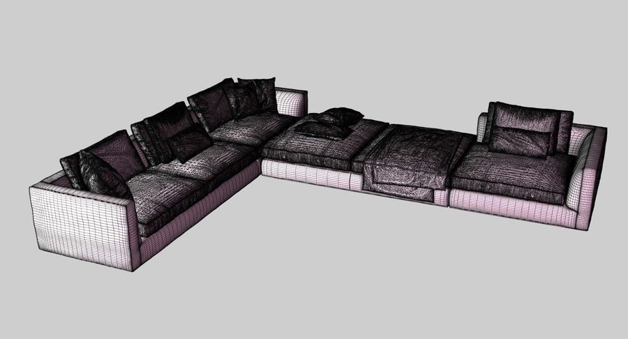 Sofa narożna z tkaniny royalty-free 3d model - Preview no. 9