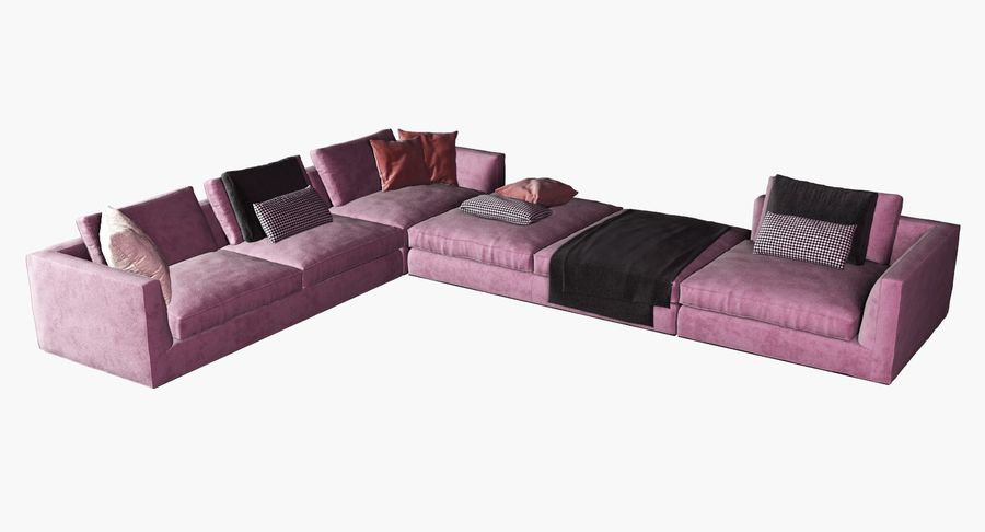Sofa narożna z tkaniny royalty-free 3d model - Preview no. 7