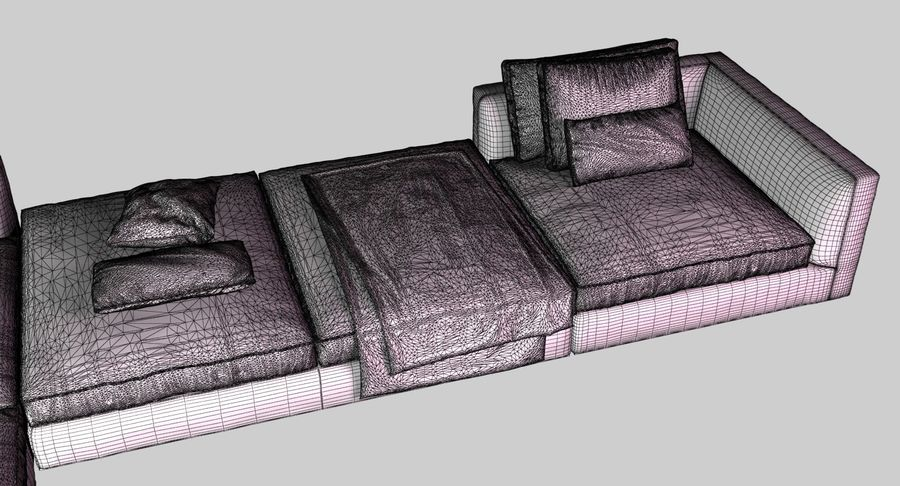 Sofa narożna z tkaniny royalty-free 3d model - Preview no. 8