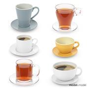 Koppsamling med te och kaffe 3d model