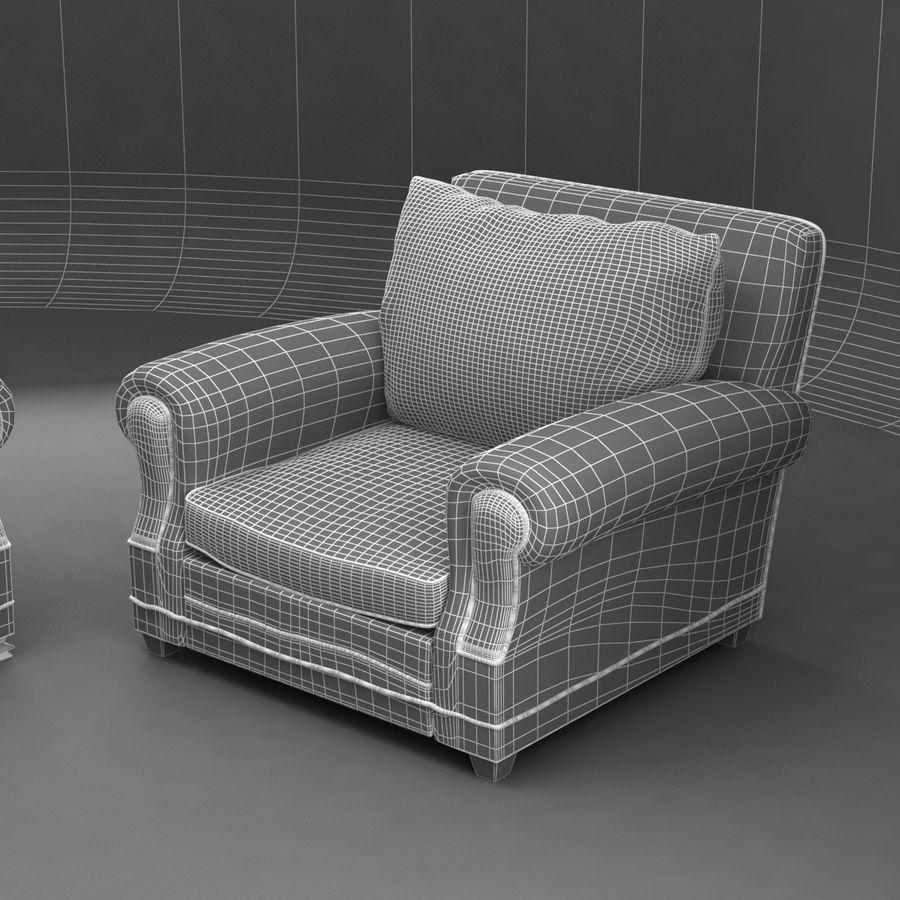 太い伝統的なソファと椅子 royalty-free 3d model - Preview no. 12