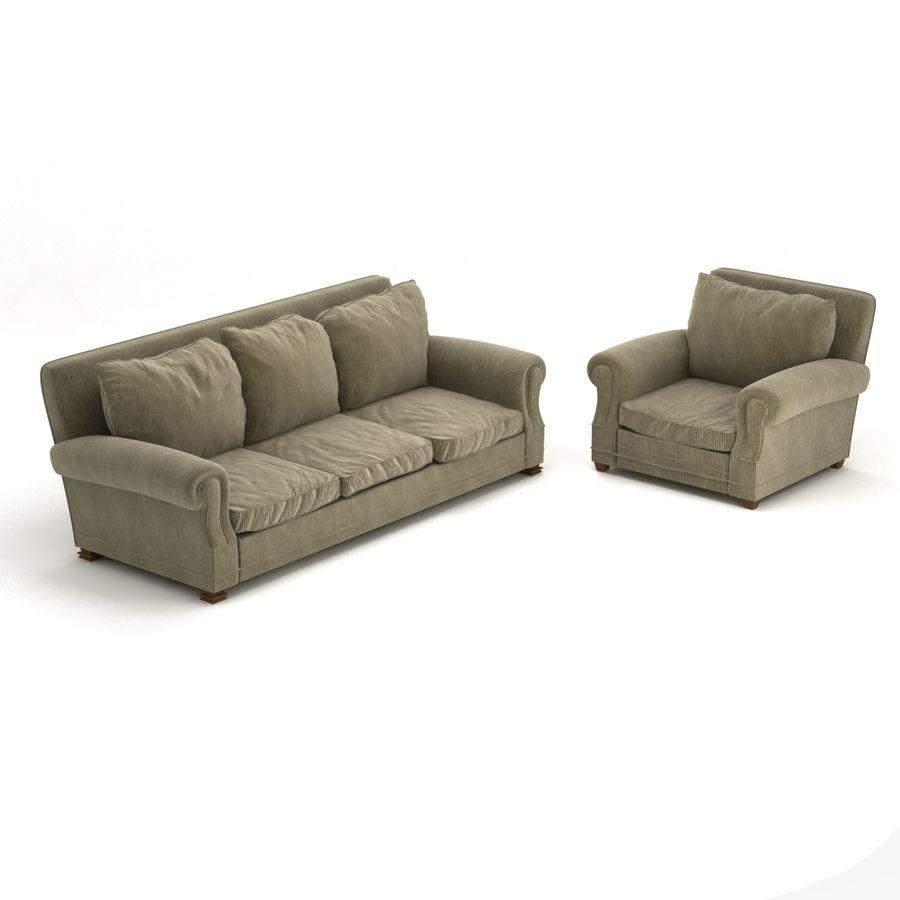太い伝統的なソファと椅子 royalty-free 3d model - Preview no. 1