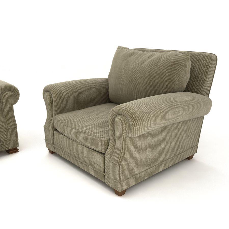 太い伝統的なソファと椅子 royalty-free 3d model - Preview no. 3