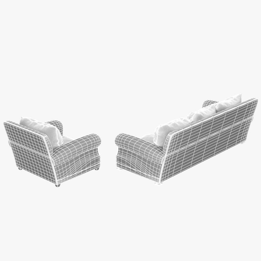 太い伝統的なソファと椅子 royalty-free 3d model - Preview no. 13