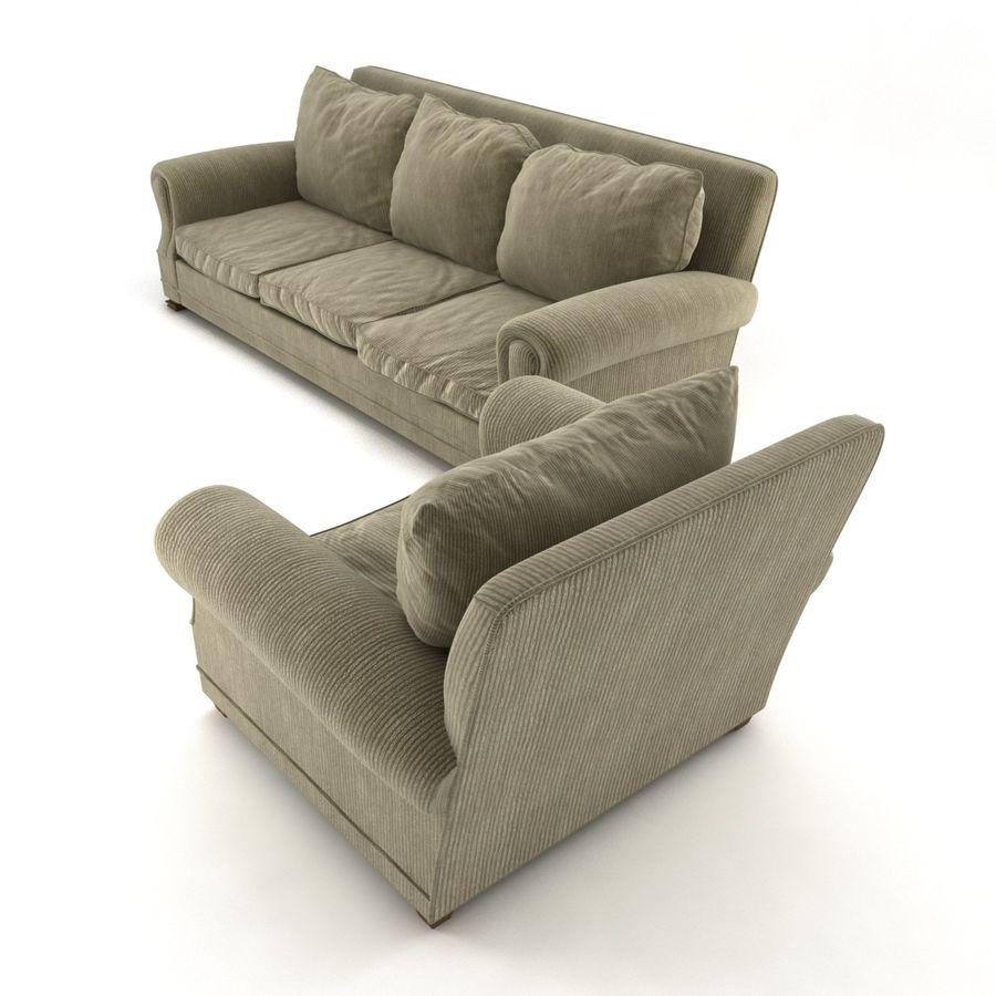 太い伝統的なソファと椅子 royalty-free 3d model - Preview no. 4