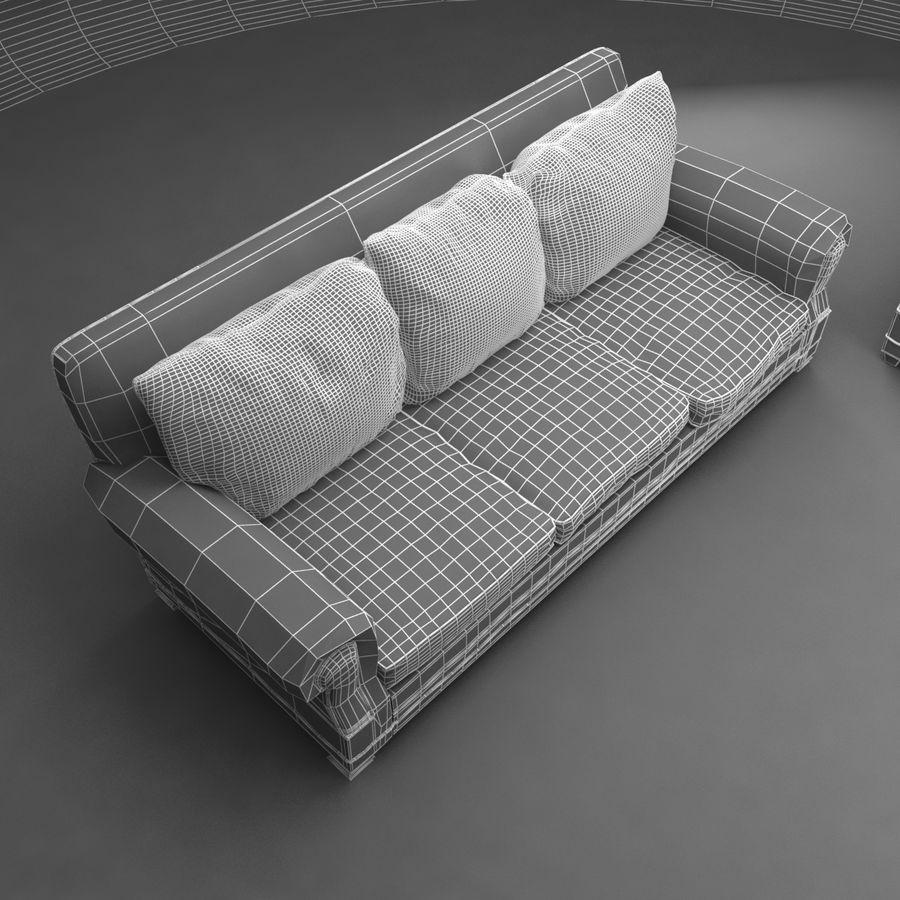 太い伝統的なソファと椅子 royalty-free 3d model - Preview no. 8