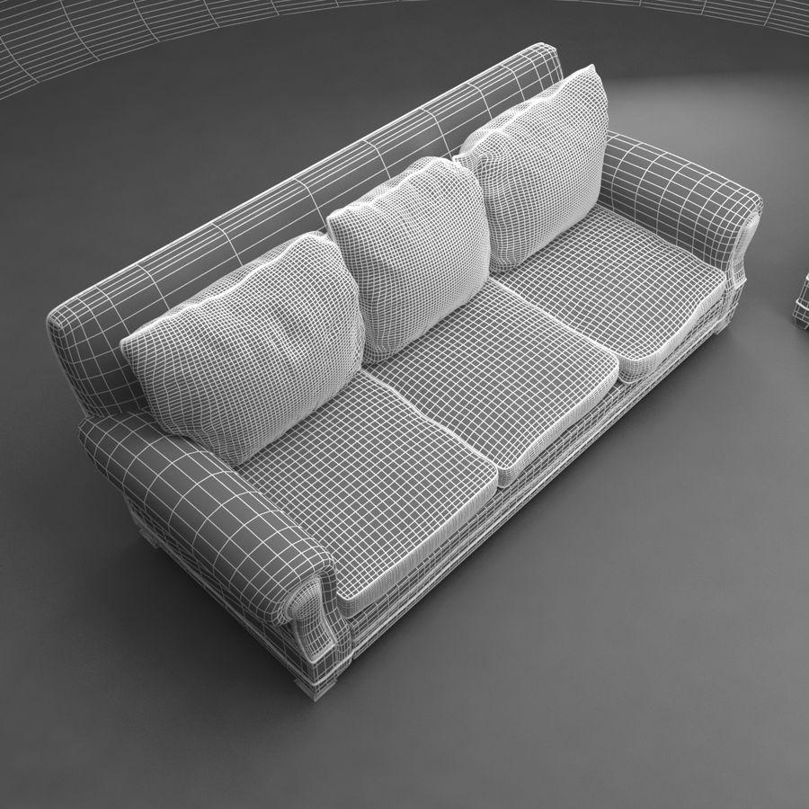 太い伝統的なソファと椅子 royalty-free 3d model - Preview no. 9