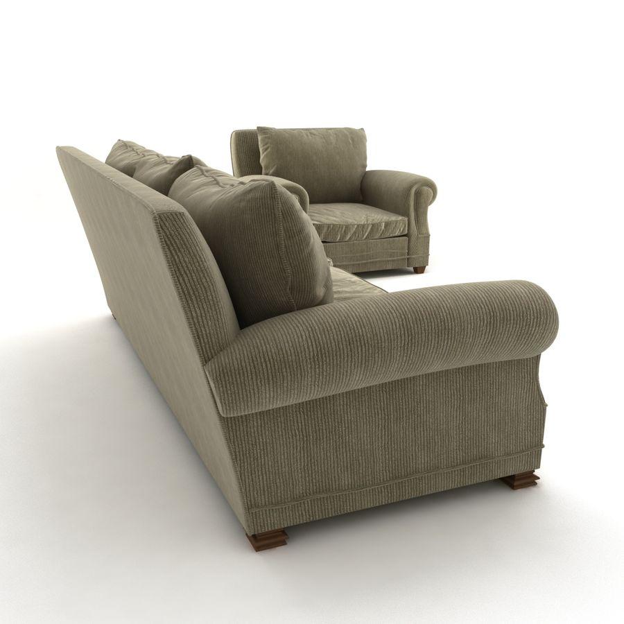 太い伝統的なソファと椅子 royalty-free 3d model - Preview no. 5