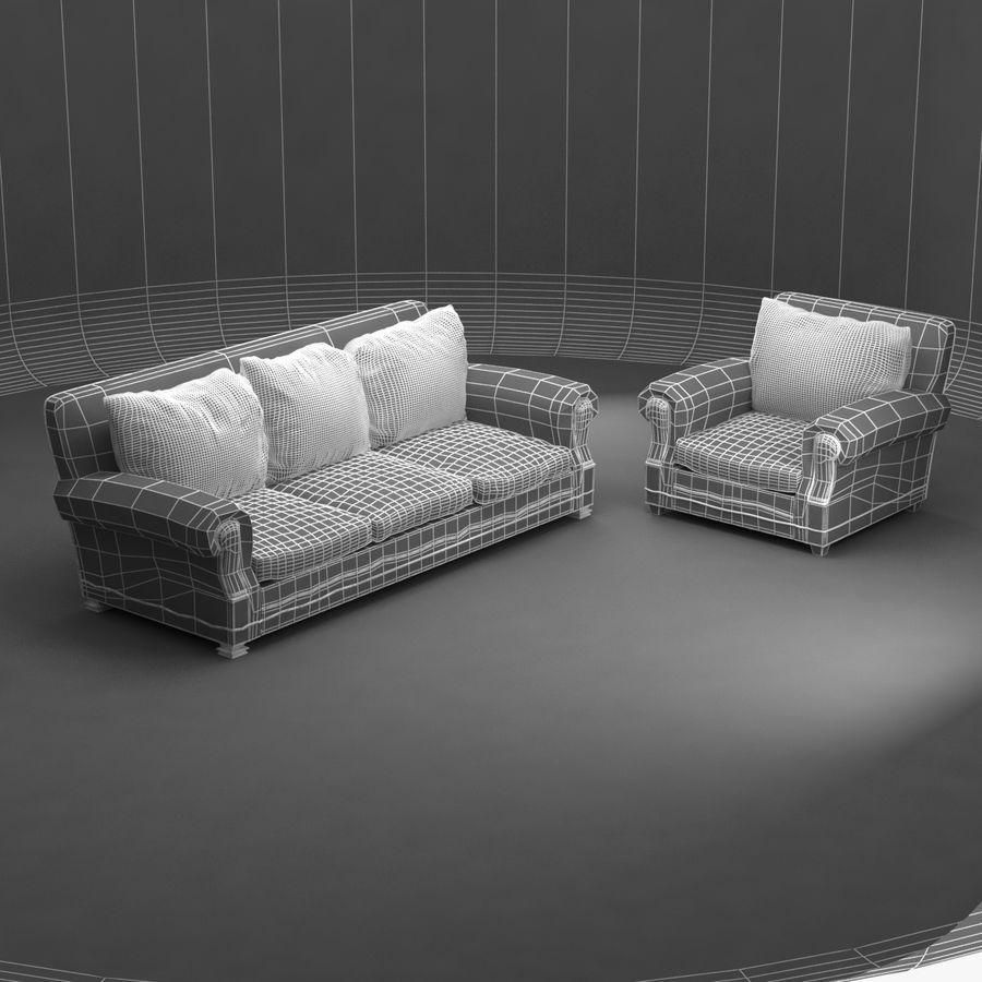 太い伝統的なソファと椅子 royalty-free 3d model - Preview no. 10