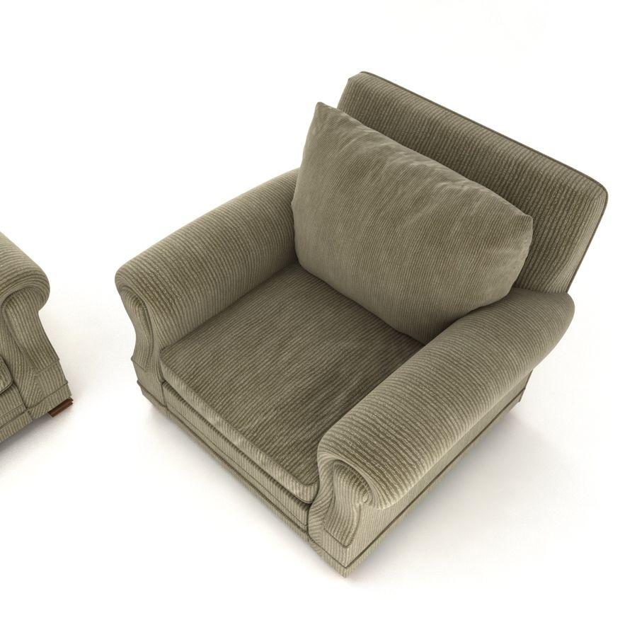 太い伝統的なソファと椅子 royalty-free 3d model - Preview no. 6