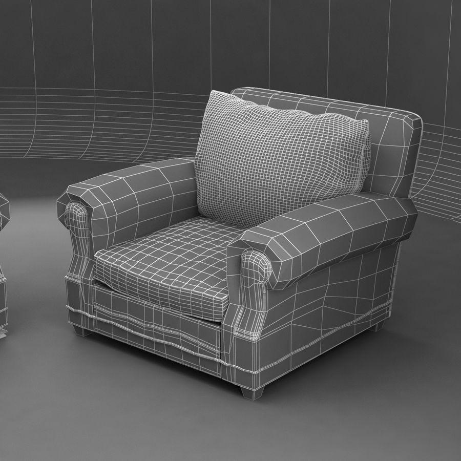 太い伝統的なソファと椅子 royalty-free 3d model - Preview no. 11