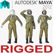 玛雅3D模型的苏联宇航员穿着带有SK-1头盔的太空服Strizh索具 3d model