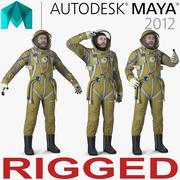 玛雅3D模型的宇航员穿着太空服Strizh索具 3d model