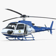 Helikopter policyjny Eurocopter AS-350 Rigged 3d model
