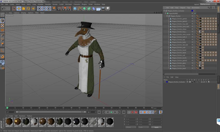 瘟疫医生服装3D模型 royalty-free 3d model - Preview no. 24