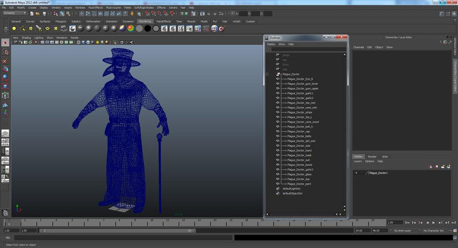 瘟疫医生服装3D模型 royalty-free 3d model - Preview no. 25