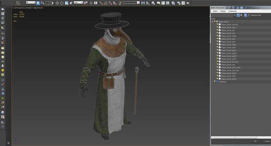 瘟疫医生服装3D模型 royalty-free 3d model - Preview no. 23