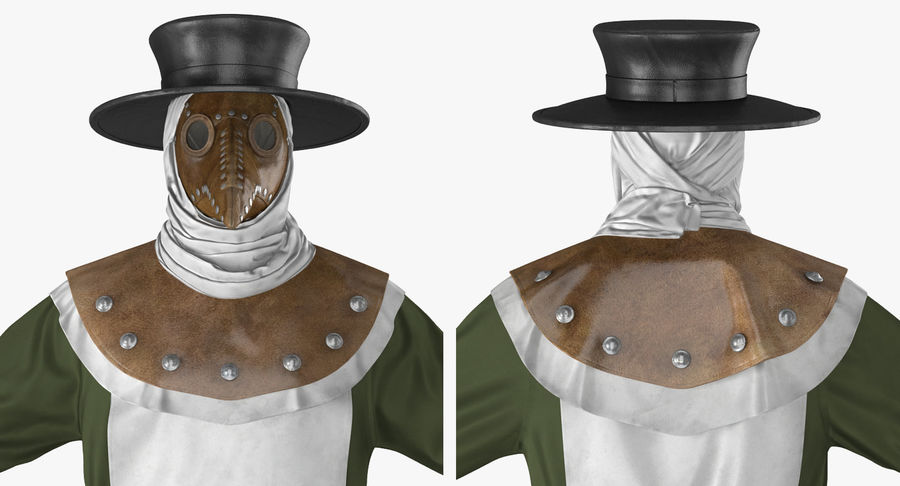 瘟疫医生服装3D模型 royalty-free 3d model - Preview no. 11